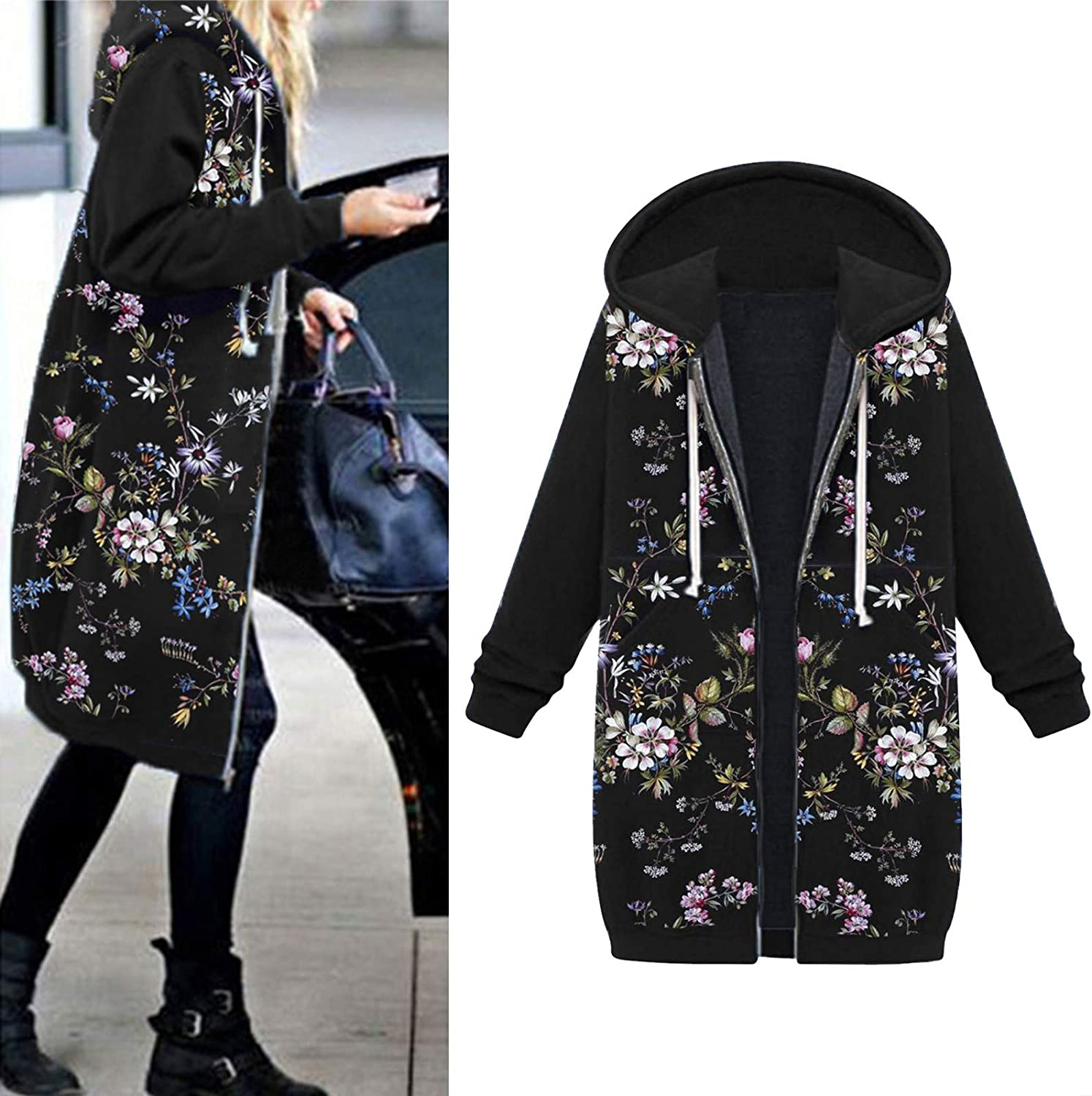 Women Fall Winter Coats With Hood Vintage Floral Printed Patchwork Long Hooded Outwear Cardigan Overcoats