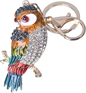 Girl's Owl Keychain Gold Plated Bag Charm Cute Car Key Ring Crystal Purse Pendant #51616