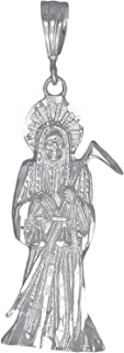 Sterling Silver Santa Muerte Pendant Necklace with Diamond Cut Finish