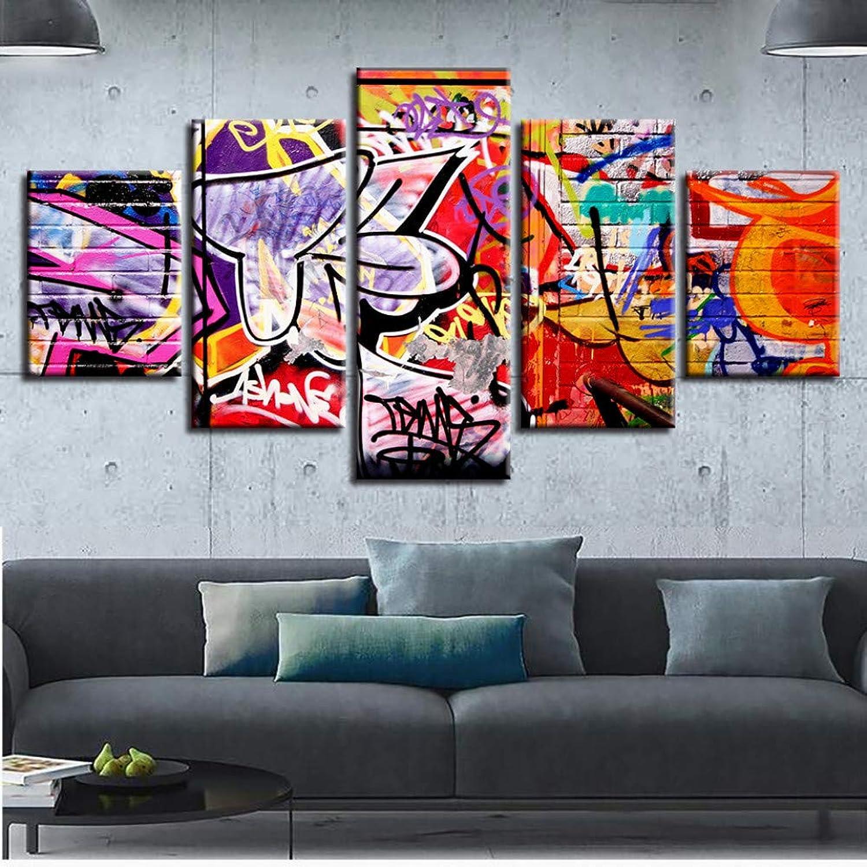 hasta un 50% de descuento ASDZXC Decoración Cocina Restaurante Muro Impresión HD HD HD 5 Unidades Colorida Graffiti Resumen Imagen Cartel Modular Lienzo Pintura Arte Marco  almacén al por mayor