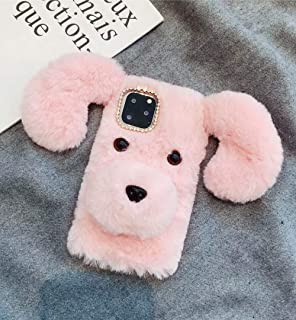 Losin Dog Case Compatible with Apple iPhone 11 6.1 inch Case Cute Fuzzy Furry Winter Rabbit Hair Warm Plush Fluffy Fur 3D ...