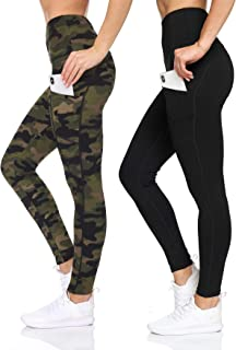 BSP Better Sports Performance Women's 2 Pack High Waist Leggings - Camo Printed Active Yoga Pants with Pockets