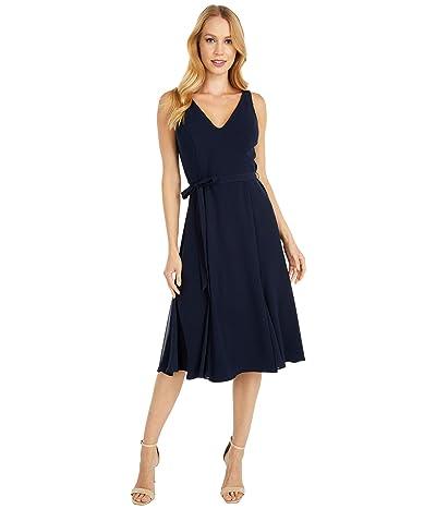 Adrianna Papell Crepe and Chiffon Godet Dress (Blue Moon) Women