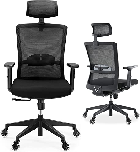 wholesale Ergonomic Office Chair, Tribesigns High Back Desk online sale Chair with Lumbar Support, 2D Adjustable Headrest and lowest Blade Wheels, Black outlet sale