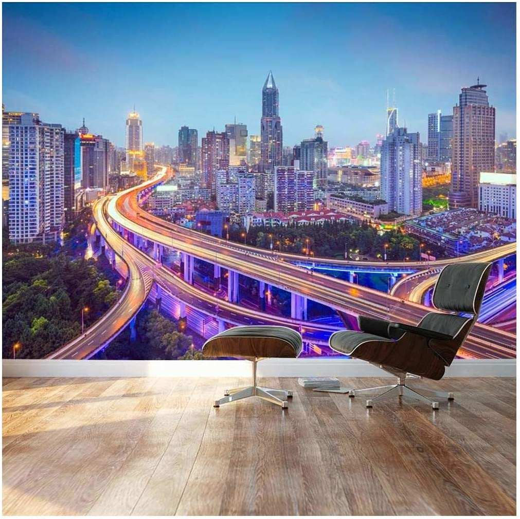Buy Wall26 Large Wall Mural Beautiful City Skyline Traffic Lights On Roads And Bridges At Evening Self Adhesive Vinyl Wallpaper Removable Modern Decorating Wall Art 66 X 96 Online In Germany B00wx19dbg