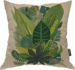 Moslion Leaf Throw Pillow Case Vintage Tropical Palm Tree Fern Banana Leaves Botanical Plant Pillow Cover Decorative Square Cushion Accent Cotton Linen 20x20 Inch for Sofa Chair Green