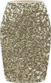 KISSMODA Women's Sequin Skirt High Waist Sparkle Pencil Skirt Party Cocktail Dress