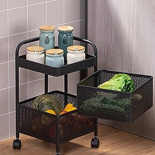 LFLF Cuisine Baker Rack 360 ° Casseroles de Rangement Tournettes Rotatives avec Paniers de Cuisine Casier à LéGumes à éTag...
