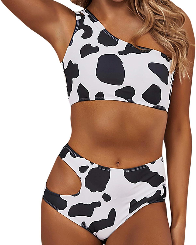 ZGMYC Women 2 Piece Cow Print One Shoulder Bikini Set Sexy Cutout Swimsuit High Waisted Bathing Suit