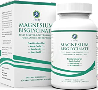 Magnesium Bisglycinate Chelate - Reduce Muscle Cramps and Improve Sleep - Maximum Absorption with no Laxative Effects - 100% Chelated with TRAACS - 200 mg of Pure Magnesium Bisglycinate Per Capsule