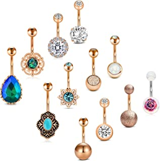 Belly Button Rings 12Pcs 14G Stainless Steel CZ Vintage Navel Rings Curved Barbells Bar for Women Girls Body Piercing Jewelry
