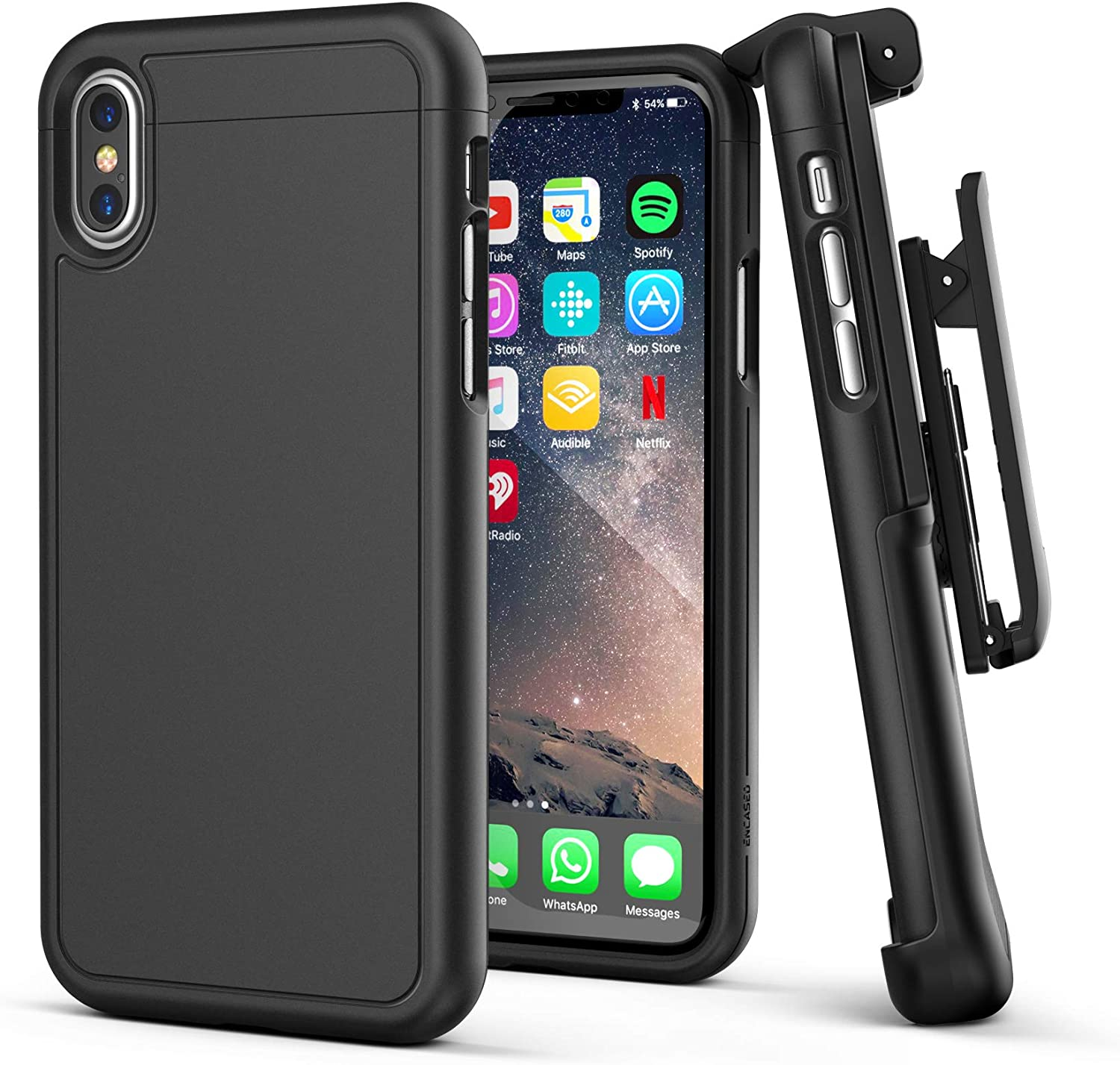 Encased iPhone X Belt Case [SlimShield Series] Protective Grip Case with Holster Clip for Apple iPhoneX/iPhone Xs (2017/2018 Release) Smooth Black