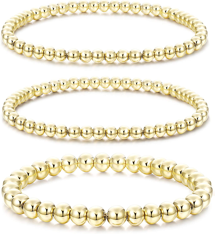 HAIAISO 14K Gold Plated Bead Ball Bracelet for women, Stackable
