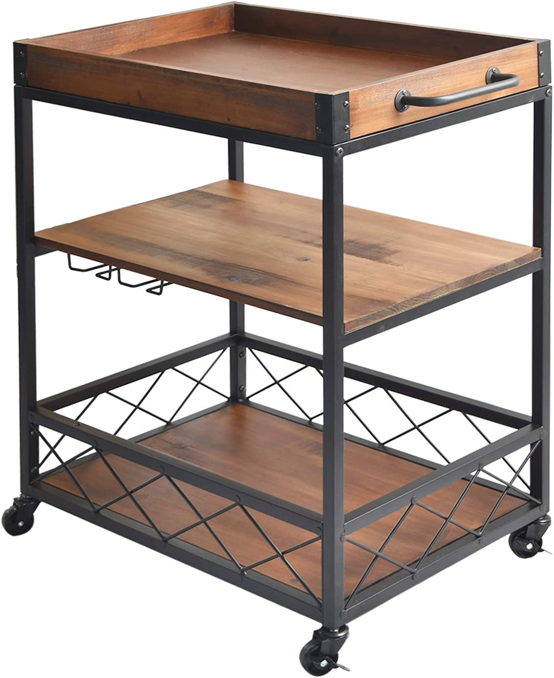 charaHOME Solid Wood Kitchen Serving Carts Rolling Bar Cart with 9 Tier  Storage Shelves Kitchen Island Cart with Wine Glass Holder,Handle ...