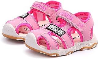 [ZKKK] ベビーサンダル 男女兼用 ガルーズサンダル ビーチサンダル ファーストシューズ ボーイズ 包まれたデザイン 中空 メッシュ ソフト 柔軟底 ガールズ夏靴 通気性よい 滑り止め 軽量 マジックテープ