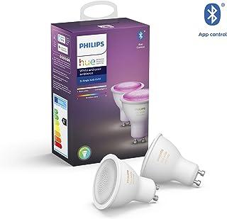 Philips Hue White and Color Ambiance Zestaw, 2x Inteligentny reflektor punktowy LED E27 5,7W GU10, 16 mln kolorów, sterowa...