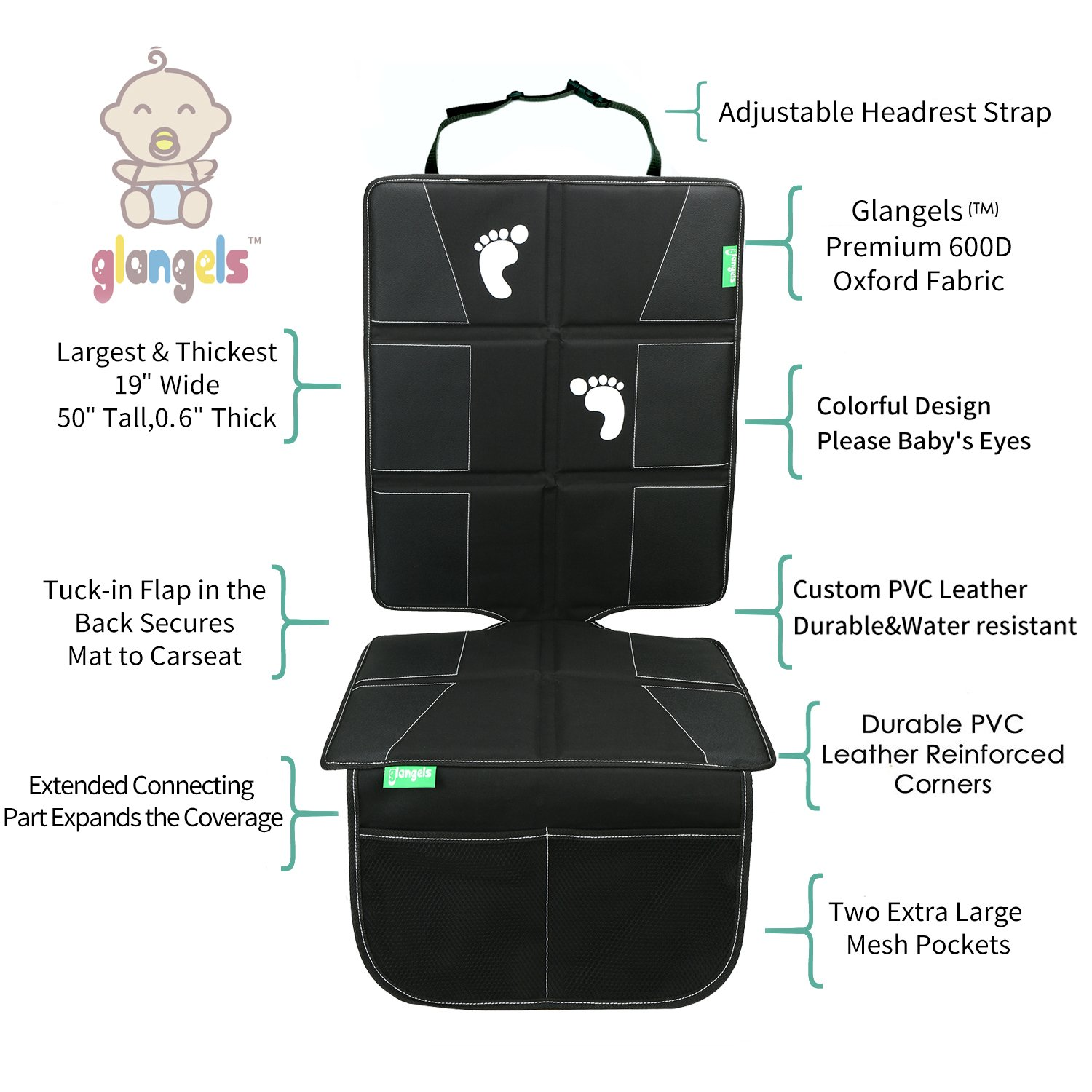Baby Waterproof Car Seat Protector Bundle with Backseat Kick Mat &Free Drawstring Backpack, Thick & Extra-Large Design for Maximum Protection(Black)