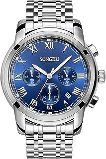 SONGDU Mens Quartz Unisex Wrist Watch Silver Stainless Steel Band Dress Analog, Chronograph Classic Design Calendar Date Window – Blue Dial Luminous Hands