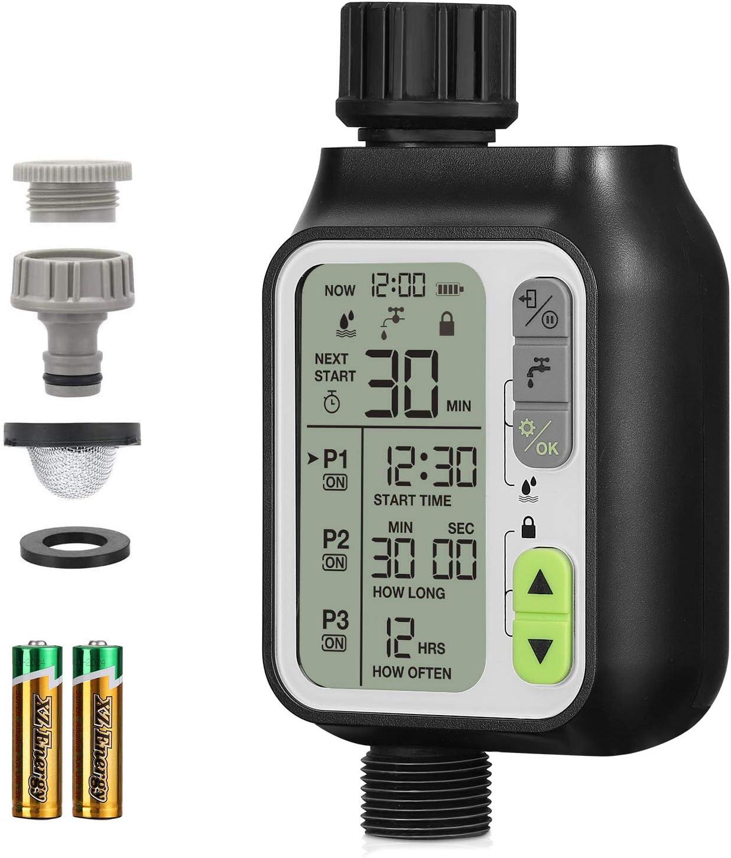 johgee Programador Riego Jardin Temporizador Automatico Aspersor Temporizadores el más Nuevo Versión Función del Sensor de Agua de Lluvia