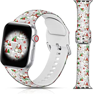LAACO Christmas Design Sport Bands Compatible with Apple Watch 38mm 40mm 42mm 44mm for Women Men Girls, Santa Claus Floral Silicone Wristbands Replacment Strap for iWatch SE/Series 6/5/4/3/2/1