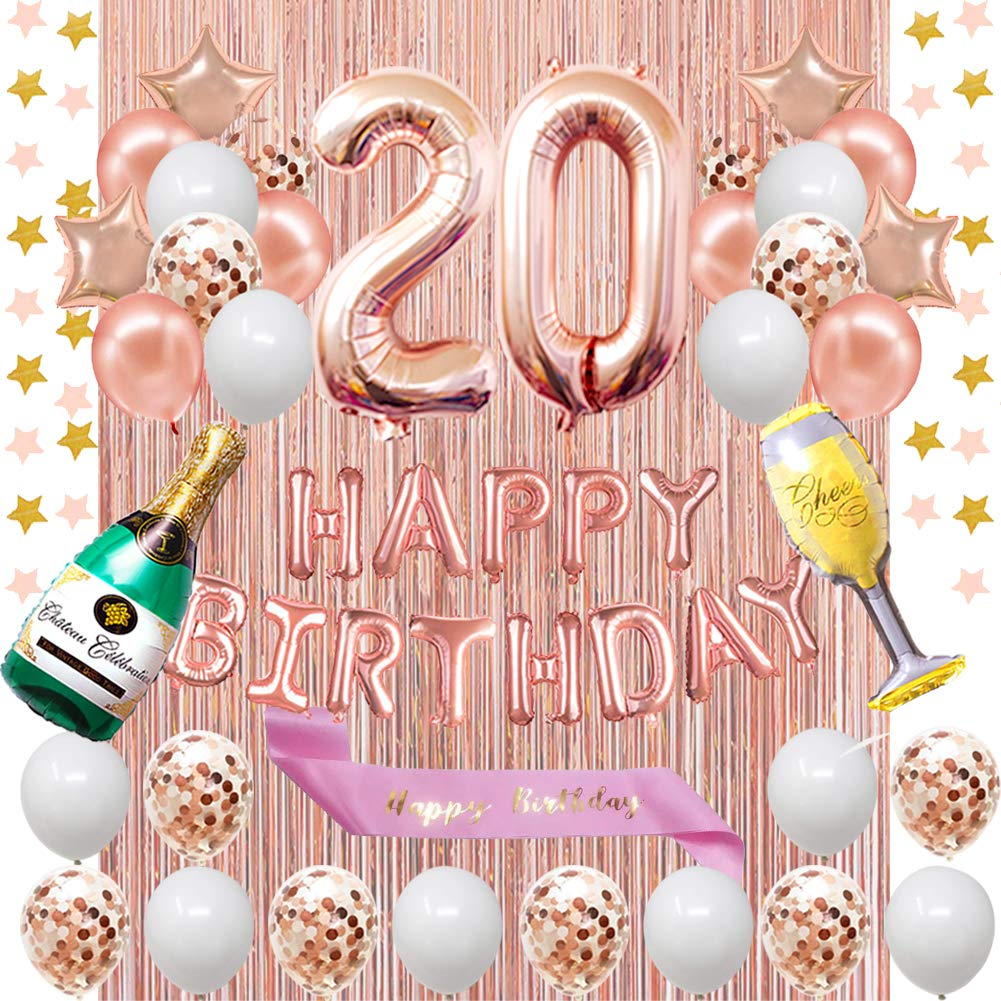 Fancypartyshop 20th Birthday Decorations   Rose Gold Happy ...