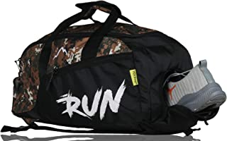 YOI Men's Polyester Travel Sports Run Army Backpack Cum Gym Duffel Bags with Separate Shoe Compartment (Black)