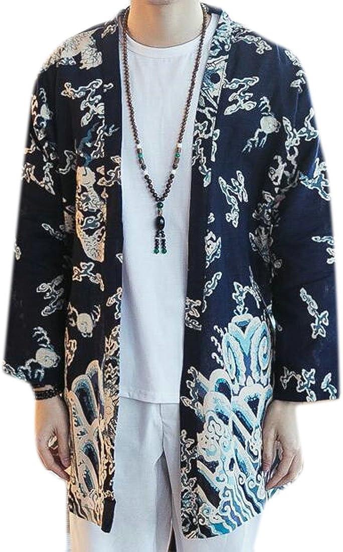 XTX Men's Summer Floral Print Loose Linen Irregular Kimono Cardigan Two US L