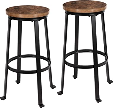"KOZYSPHERE Bar Stools for Kitchen - 29"" Pub Height Chairs with Metal Frame - Backless Barstools - Set of 2 - Industrial R"