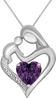 Simulated Garnet & White Natural Diamond Accent Mother & Child Heart Pendant Necklace in 14k White Gold Over Sterling Silver (11/10 Cttw)