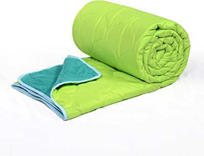 Divine Casa 150 GSM Microfibre Reversible Single Bed AC Blanket for Winter Comforter Quilts, Green & Turquoise