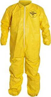 Dupont Tychem 2000 Disposable Chemical Resistant Coverall with Elastic Cuff and Serged Seams, Yellow, X-Large, Retail Pack of 1