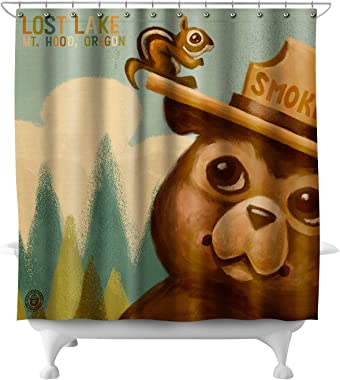 Lost Lake, Oregon - Mt. Hood - Smokey Bear and Squirrel 80302 (74x74 Polyester Shower Curtain)