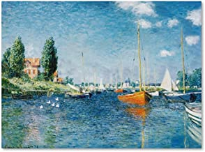 Red Boats at Argenteuil by Claude Monet, 35x47-Inch Canvas Wall Art
