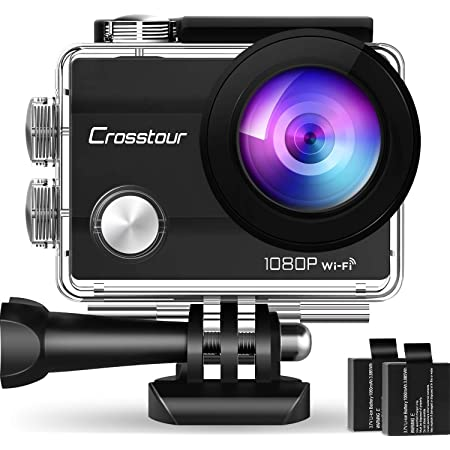 """Crosstour Action Camera Full HD Wi-Fi 14MP PC Webcam Waterproof Cam 2"""" LCD 30M Underwater 170°Wide-Angle Sports Camera with 2 Rechargeable 1050mAh Batteries and Mounting Accessory Kits"""