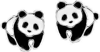 Adorable Panda Bear Colored Enamel .925 Sterling Silver Stud Earrings