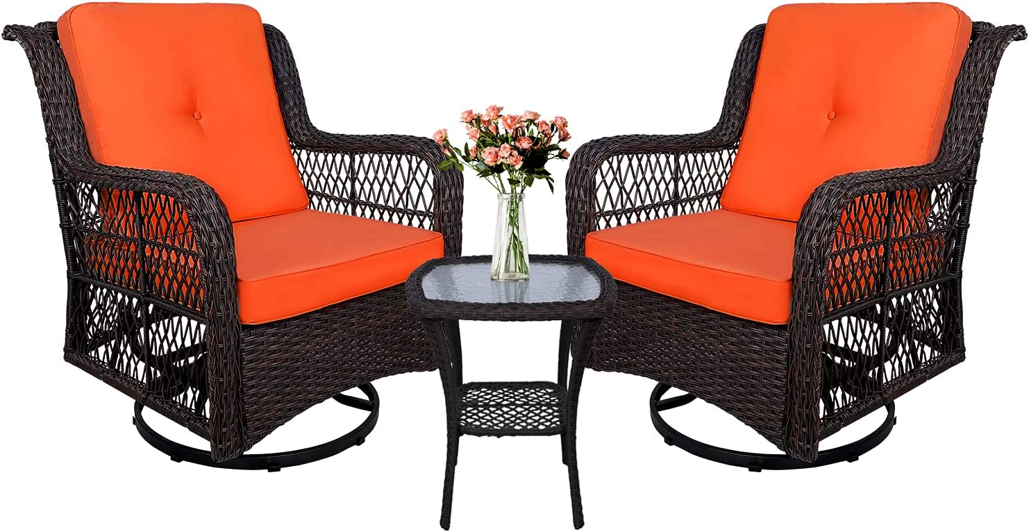 W WARMHOL 3-Piece Patio Rocking Cushion Set Chairs Bistro Max 67% OFF Super popular specialty store Wicker