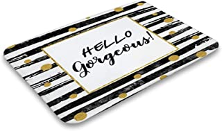 Hello Gorgeous Indoor Outdoor Doormats Black and White Stripes Gold Dot Mud Absorbent Entry Welcome Mats for Front Back Do...
