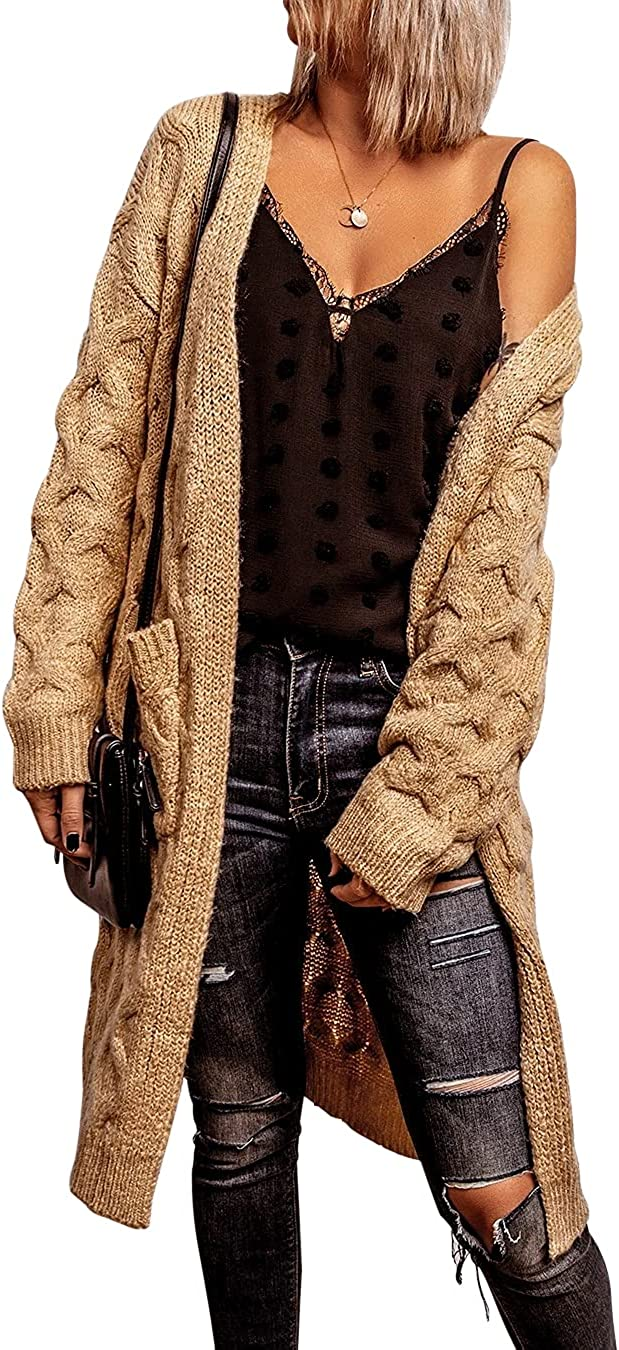 Womens Long Cardigan Coats Open Front Warm Soft Cozy Long Sleeve Loose Knit Sweater with Pockets