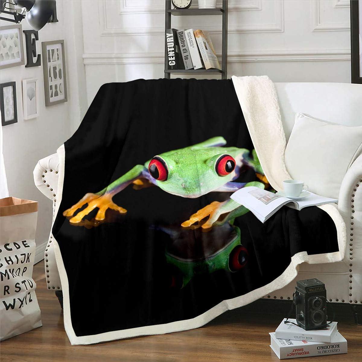 Frog Theme Plush Challenge the lowest price of Japan ☆ Blanket Seasonal Wrap Introduction Cartoon Thro Fleece Pattern Desisn