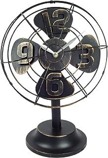 Emartbuy Reloj Ventilador de Mesa de Metal de Estilo Industrial Retro Vintage Decoración Rústico de La Oficina Casa - Negro