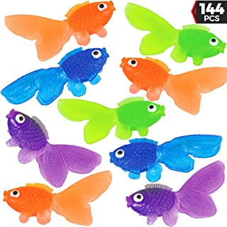 Plastic Vinyl Goldfish - 144 Pcs, 2 Inches Long Gold Fish Toys in Assorted Colors for Party Favors, Carnival Kids Prizes, Decorations, Crafts, Games and Birthday Party Supplies, Stocking Stuffers by Bedwina