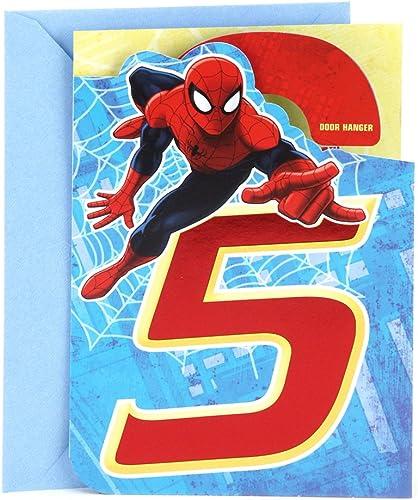 Hallmark 5th Birthday Card (Spider-Man Door Hanger)