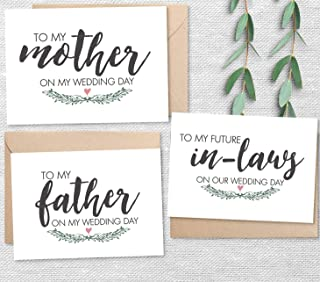 Set of 3 Wedding Day Notes from Bride, To My Mother, Father, Future In-Laws Cards