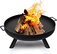 Amagabeli Fire Pit Outdoor Wood Burning Fire Bowl 28in with A Drain Hole Fireplace Extra Deep Large Round Cast Iron Outsid...
