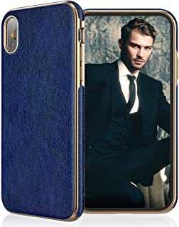 """LOHASIC for iPhone Xs Max Case, Leather Cover, Slim Fit Soft to Hold, Shockproof TPU Bumper, Compatible with Apple iPhone Xs Max (2018) 6.5"""" in Blue"""