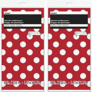 Polka Dot Plastic Tablecloth 108 x 54 Red (Red 2-PACK))