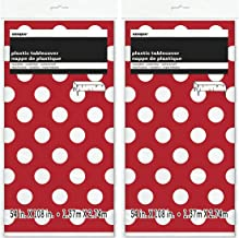 2 Pack Polka Dot Plastic Tablecloth, 108 x 54, Red with White dots