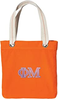Broad Bay Phi Mu Sorority Tote Bag Rich Dye Washed Orange Cotton Canvas