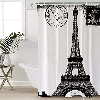Anmevor Waterproof Polyester Shower Curtain,French Paris Eiffel Tower City of Love Black White 72