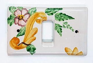 Placchette Bticino Magic Decoro Classico Fiore di Pesco Rosa Ceramica Handmade Le Ceramiche del Castello Made in Italy